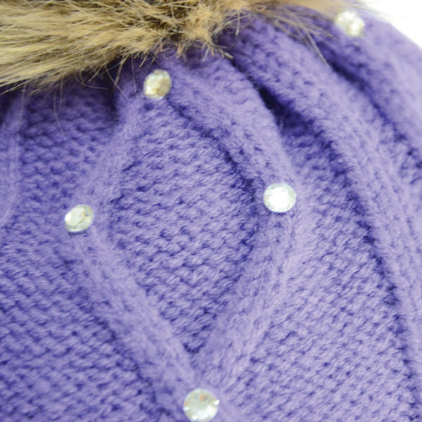 HyFASHION Dakota Diamante Bobble Hat in Violet Close Up 20529
