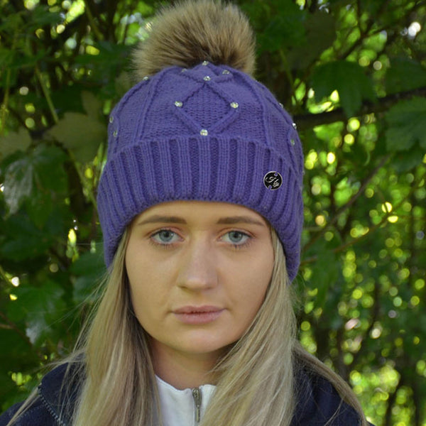 HyFASHION Dakota Diamante Bobble Hat in Violet Lifestyle 20529