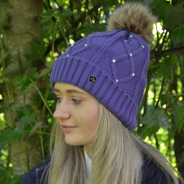HyFASHION Dakota Diamante Bobble Hat in Violet Lifestyle Side View 20529