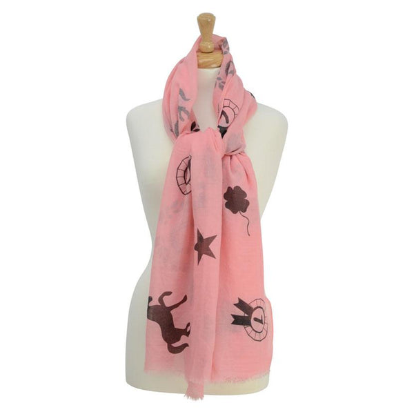 HyFASHION Ladies Balmoral Scarf Coral 15411