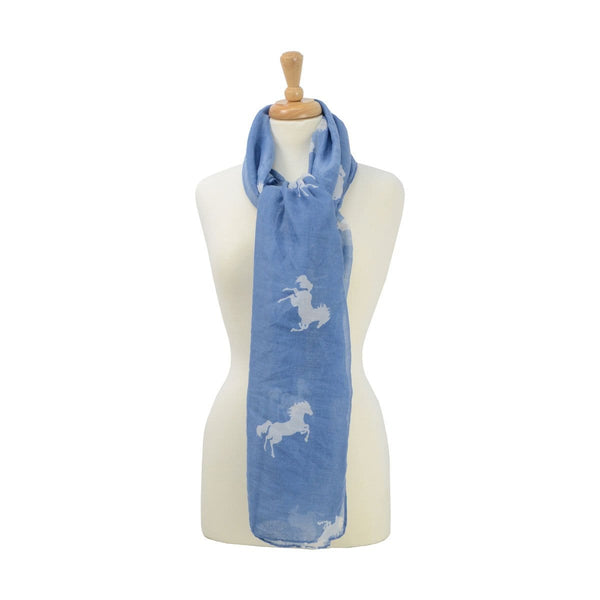 HyFASHION Ladies Belvoir Horse Print Scarf Blue 15415