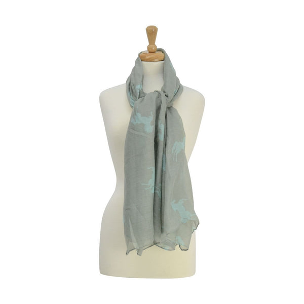 HyFASHION Ladies Belvoir Horse Print Scarf Grey 15416