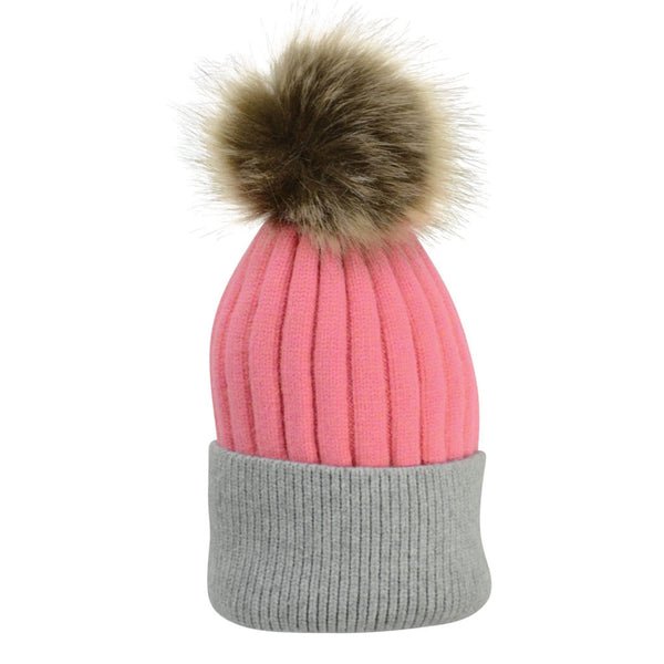 HyFASHION Luxembourg Luxury Bobble Hat in Coral & Charcoal 20295