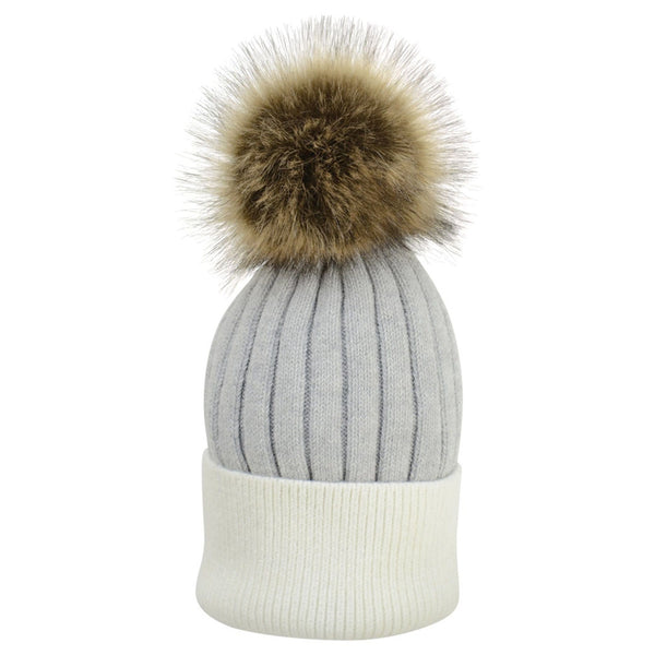 HyFASHION Luxembourg Luxury Bobble Hat in Grey & White 20295