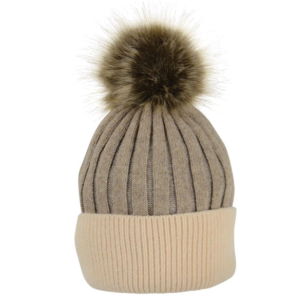 HyFASHION Luxembourg Luxury Bobble Hat in Toffee & Beige 20295