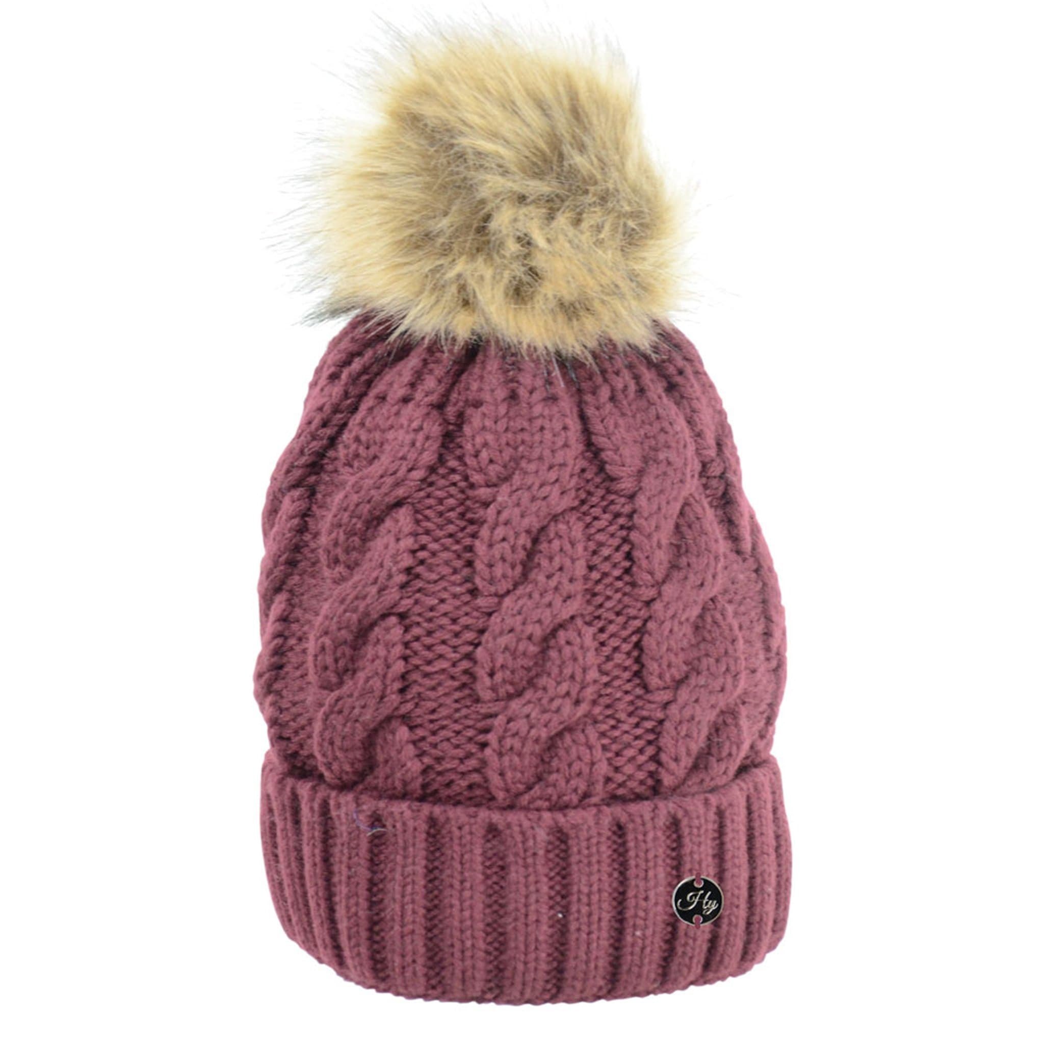 HyFASHION Melrose Cable Knit Bobble Hat in Burgundy 20564