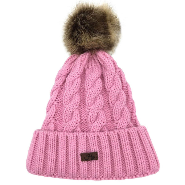 HyFASHION Melrose Cable Knit Bobble Hat in Candy Pink 16961