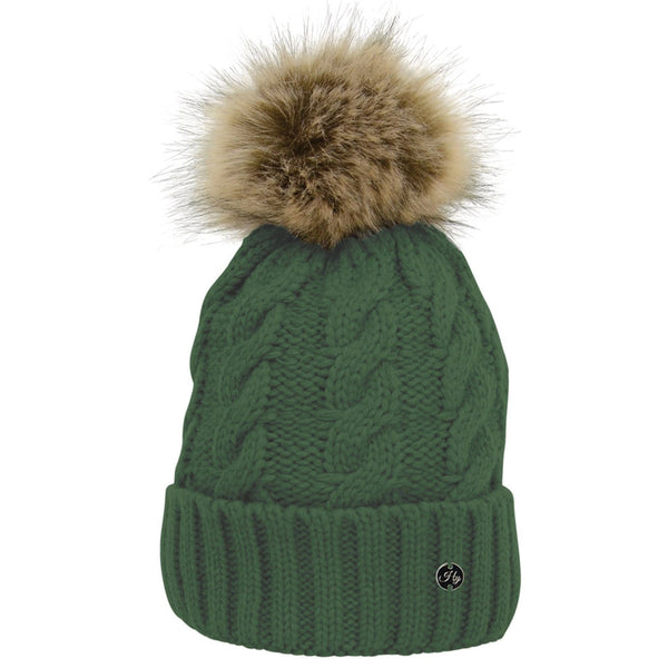 HyFASHION Melrose Cable Knit Bobble Hat in Forest Green 20563