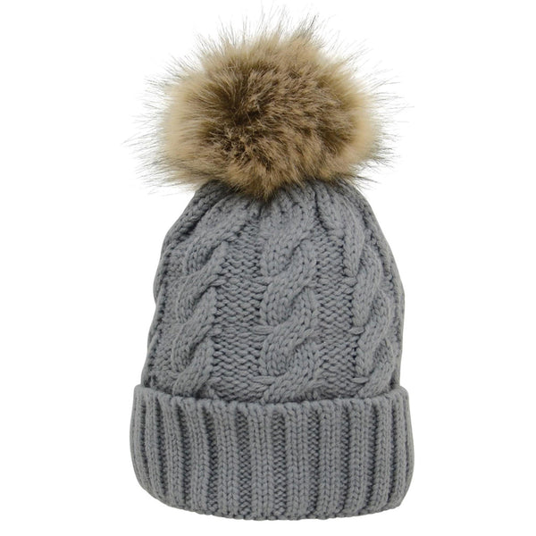 HyFASHION Melrose Cable Knit Bobble Hat in Grey 15399