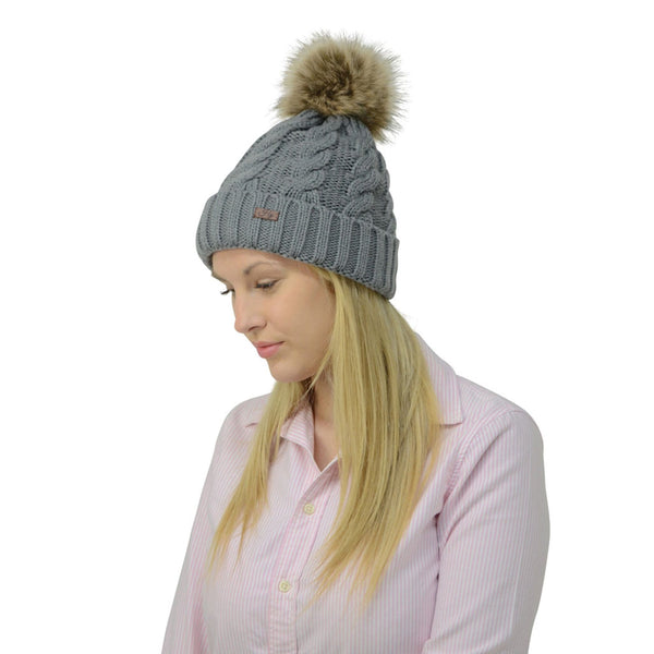 HyFASHION Melrose Cable Knit Bobble Hat in Grey Lifestyle 15399