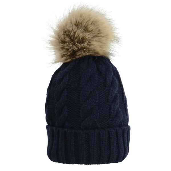 HyFASHION Melrose Cable Knit Bobble Hat in Navy 15398