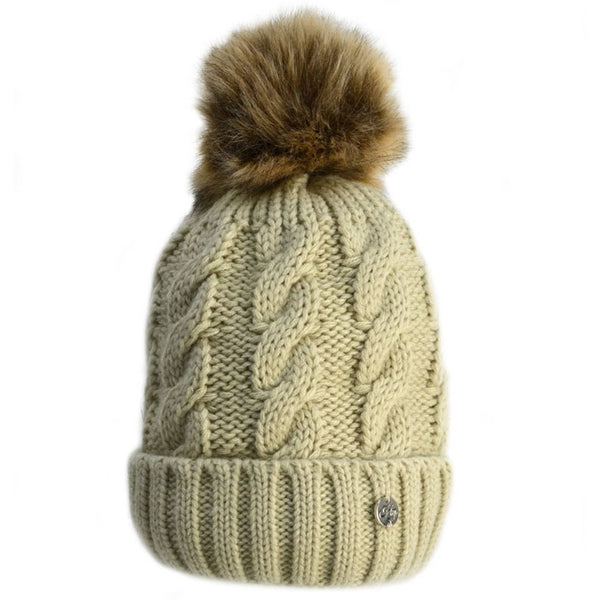 HyFASHION Melrose Cable Knit Bobble Hat in Oatmeal 20279