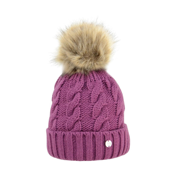 HyFASHION Melrose Cable Knit Bobble Hat in Purple 20475