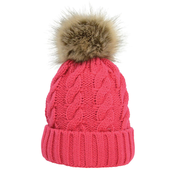 HyFASHION Melrose Cable Knit Bobble Hat in Raspberry 15602