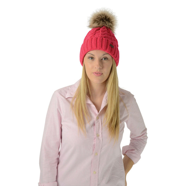 HyFASHION Melrose Cable Knit Bobble Hat in Raspberry Lifestyle 15602