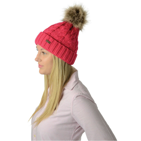 HyFASHION Melrose Cable Knit Bobble Hat in Raspberry Lifestyle Side 15602