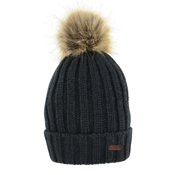 HyFASHION Turin Bobble Hat in Black 20292