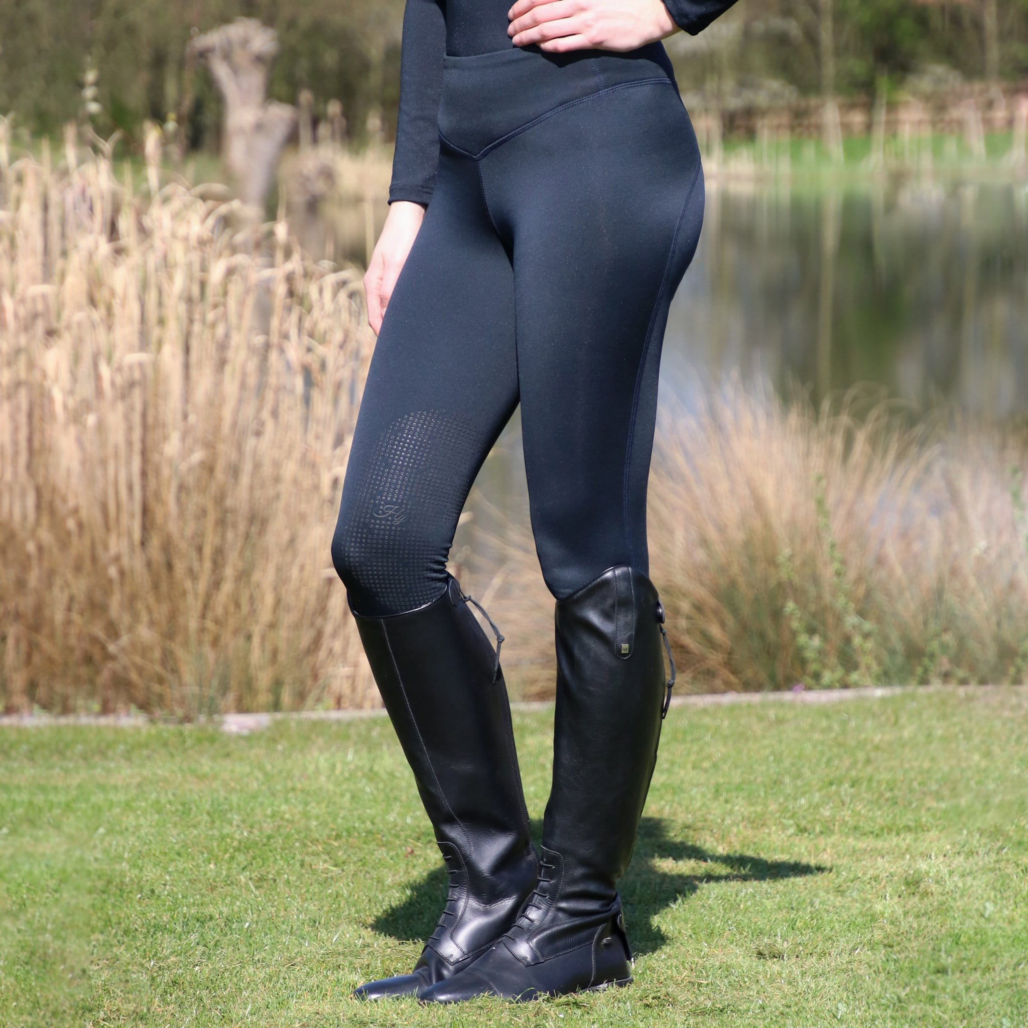 HyPerformance Oslo Softshell Silicone Knee Patch Riding Tights 21278 On Model Navy