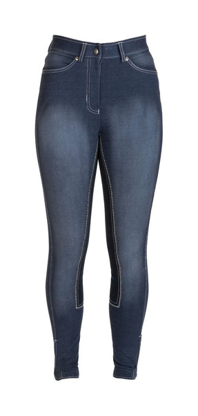 HyPERFORMANCE Denim Look Ladies Breeches in Navy Front 11022