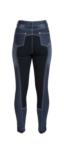 HyPERFORMANCE Denim Look Ladies Breeches in Navy Rear 11022
