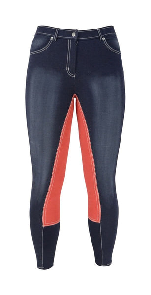 HyPERFORMANCE Denim Look Ladies Breeches in Red Front 11022