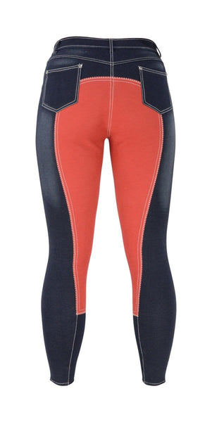 HyPERFORMANCE Denim Look Ladies Breeches in Red Rear 11022