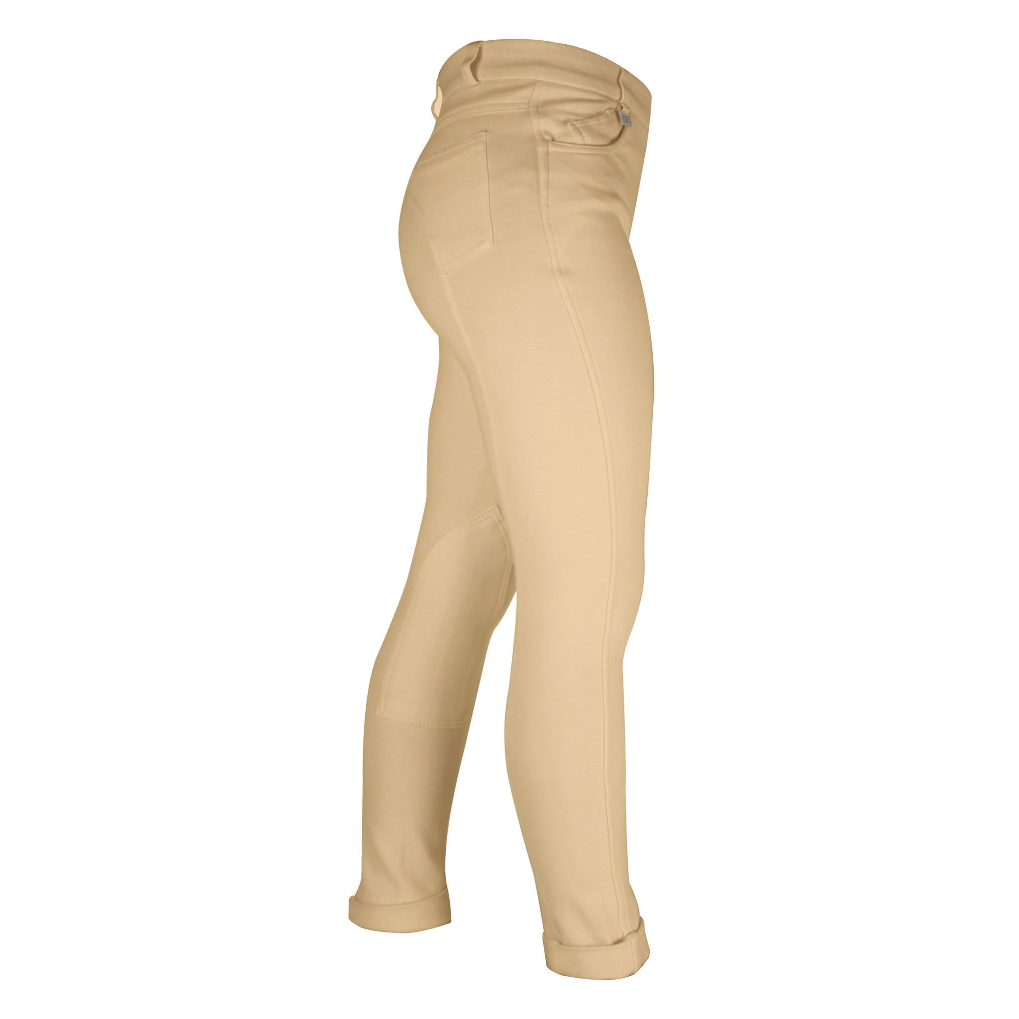 HyPerformance Children's Melton Full Seat Jodhpurs Side View in Beige 1336