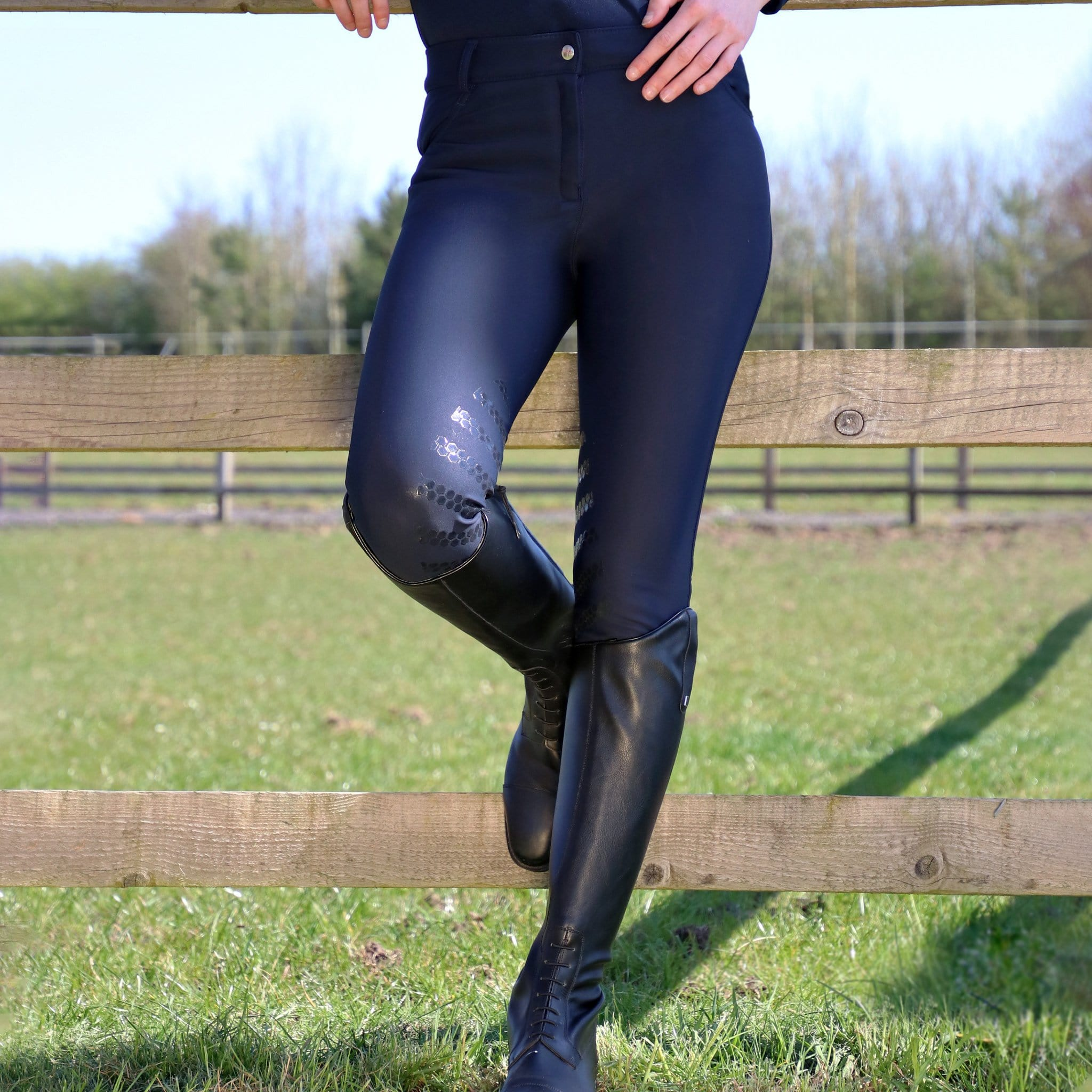 HyPerformance Thermal Softshell Breeches 13995 Navy On Model By Fence
