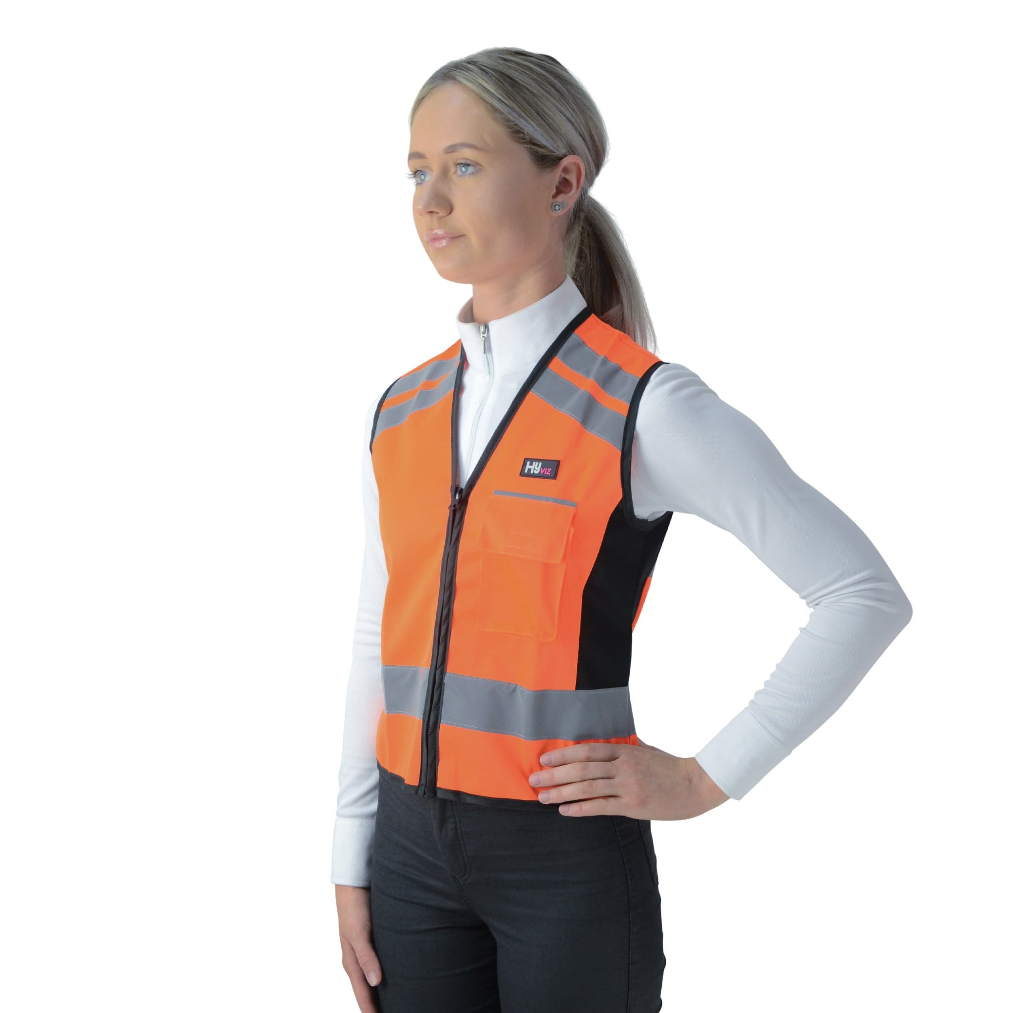 Hy Equestrian Hi Viz Waistcoat - Please Pass Wide & Slow 4992 Orange Front View