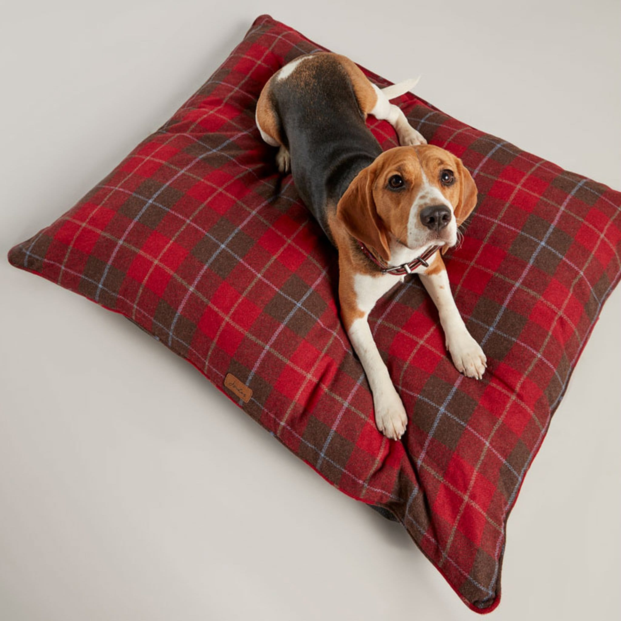 Joules Heritage Tweed Dog Mattress 27125 Red Top Down