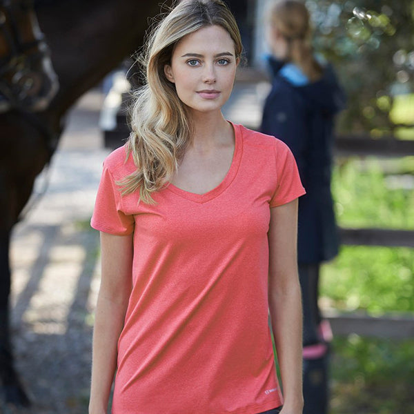 Noble Outfitters Karleigh Short Sleeve Riding Top Lifestyle in Coral 22501