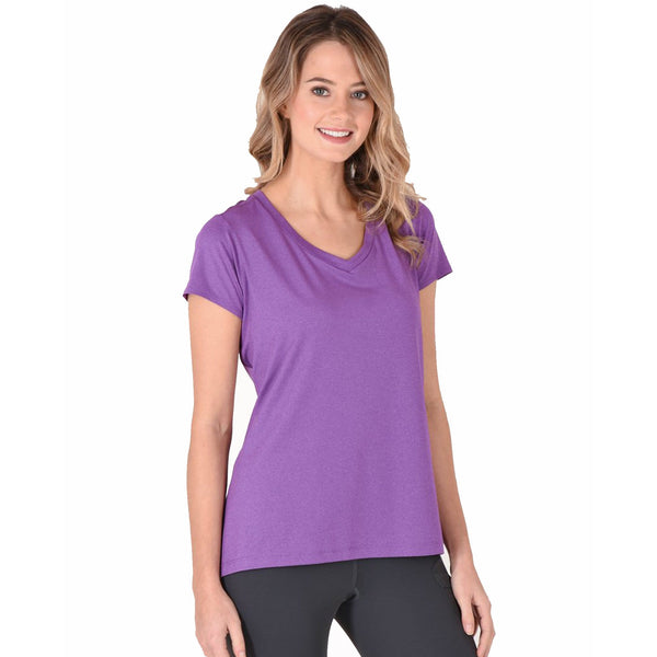 Noble Outfitters Karleigh Short Sleeve Riding Top in Grape Rider Front 22501