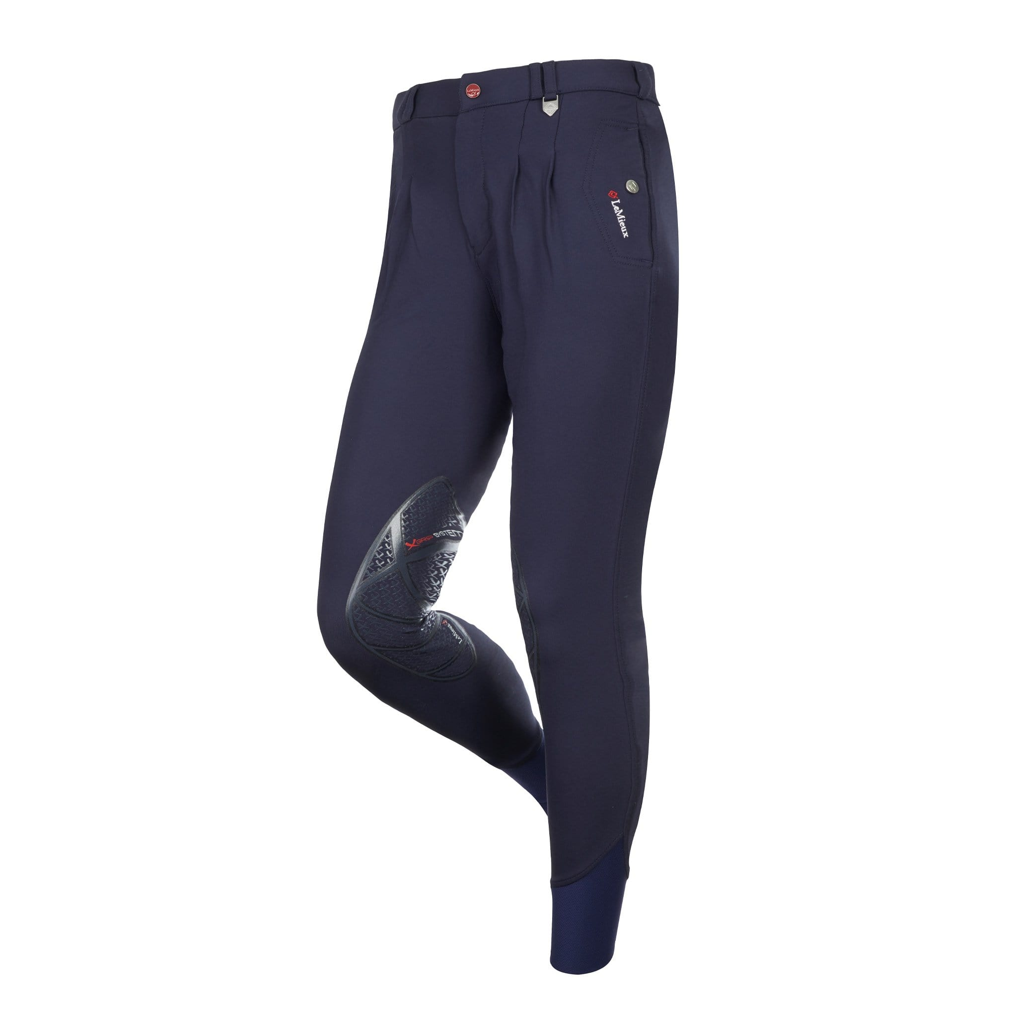 6435 LeMieux Men's Lugano Silicone Knee Patch Breeches Indigo (Navy)