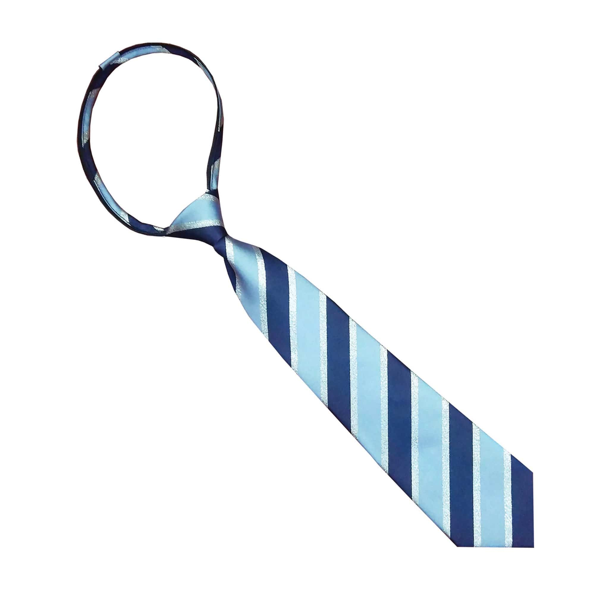 Equetech Lux Stripe Zip Show Tie Light Blue, Navy and Silver