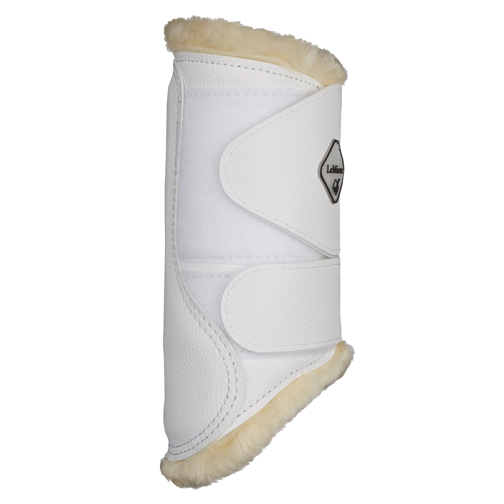 LeMieux Fleece Lined Brushing Boots White Rear View 8950