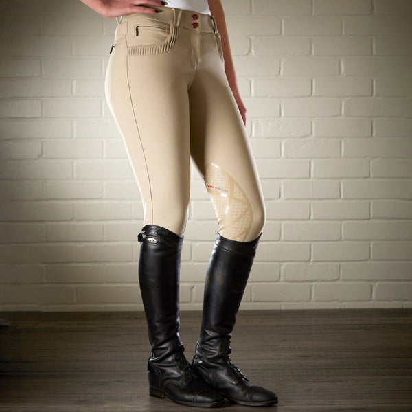 LeMieux Pace Breeches Beige RHS with boots 7729