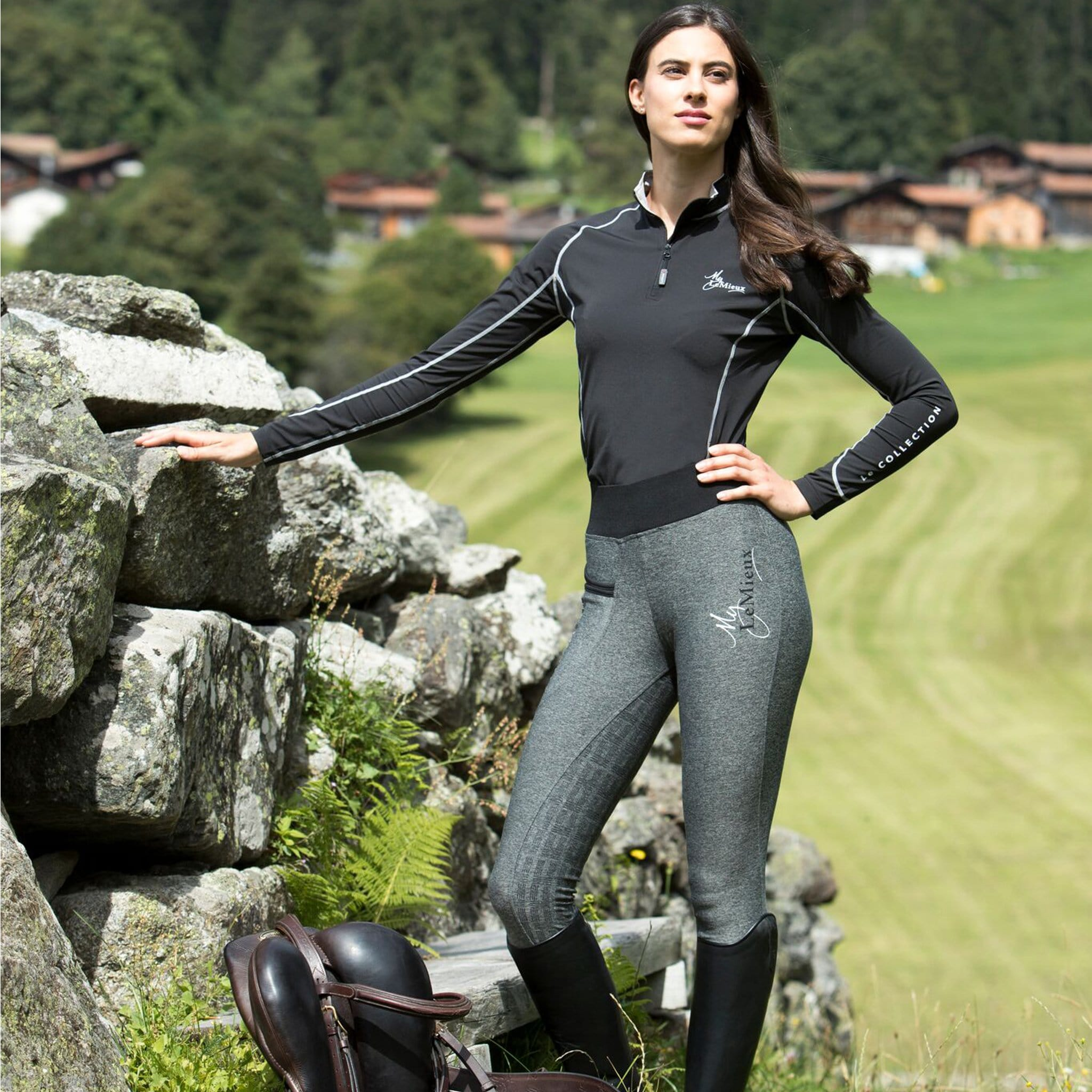 LeMieux Active Wear Pull On Breeches in Grey Lifestyle 6318