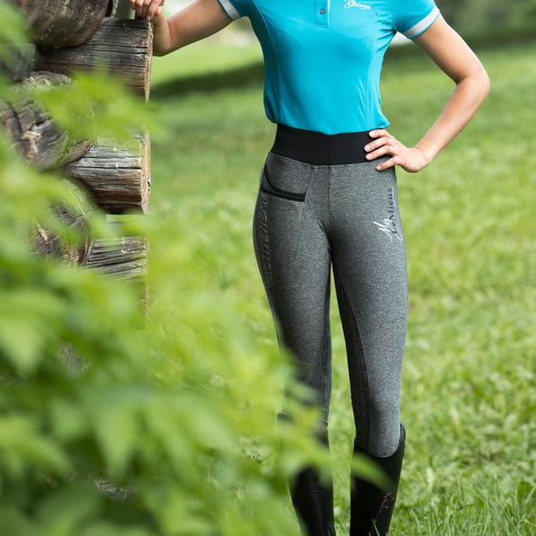 LeMieux Active Wear Pull On Breeches in Grey Close Up Lifestyle 6318