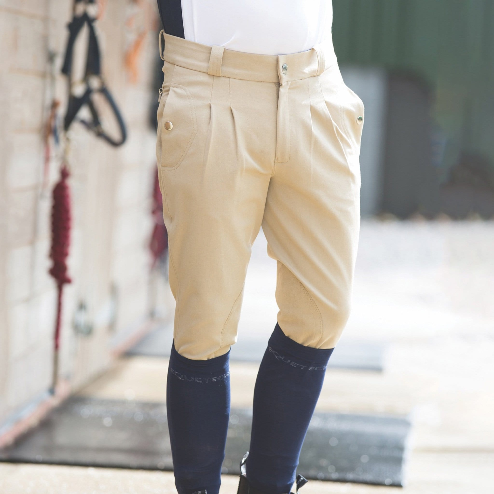 MKB Equetech Men's Kingham Silicone Knee Patch Breeches Beige on model