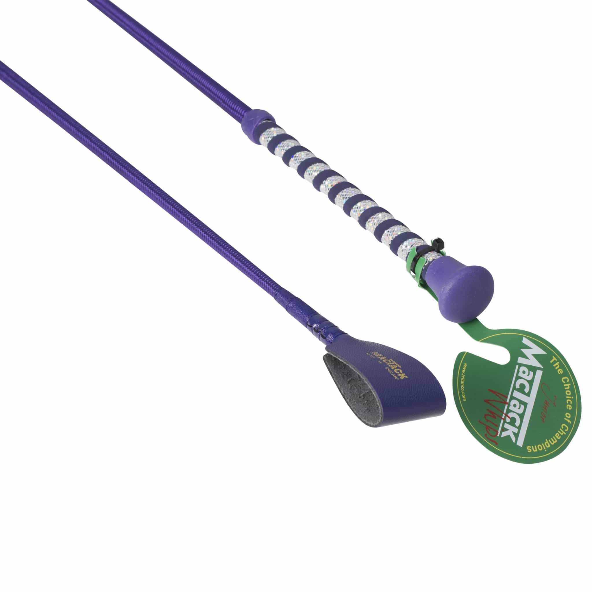 Mactack Children's Riding Whip with Glitter Handle and Keeper in Purple