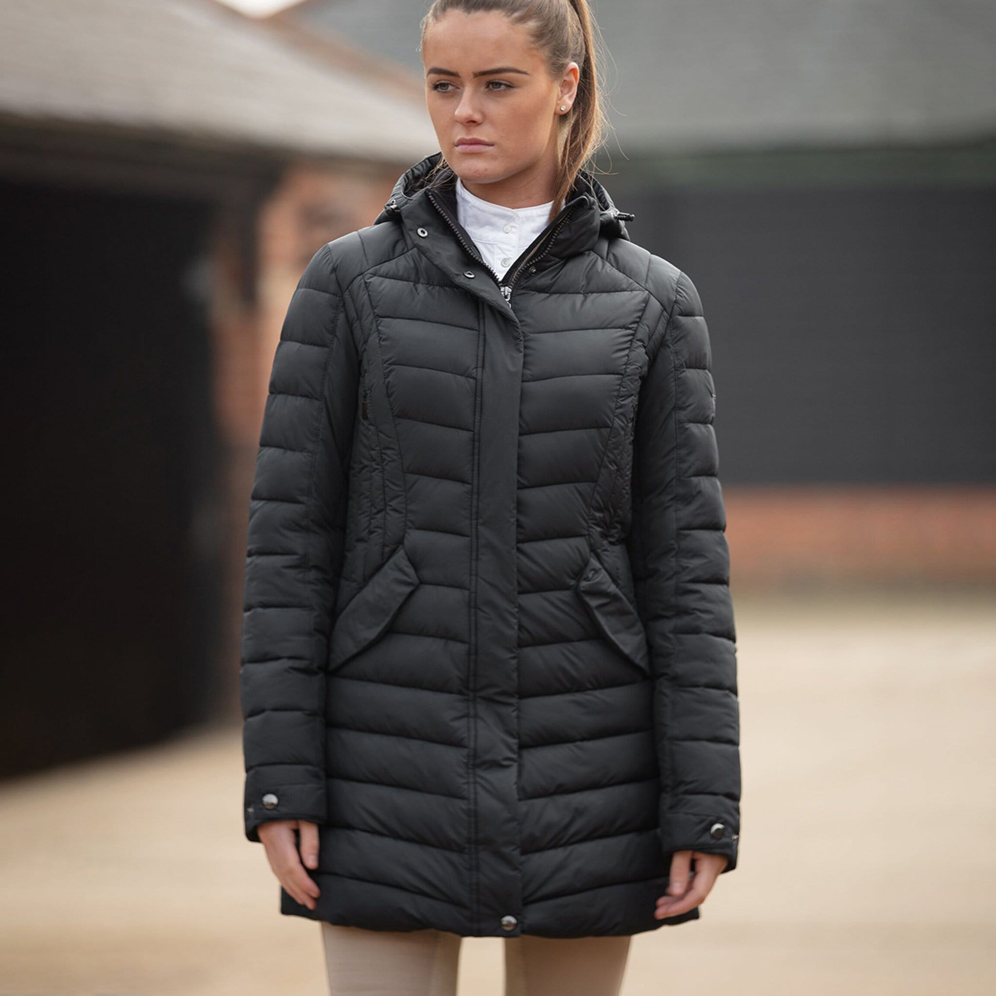 Mark Todd Quilted Coat Black TOD692160 On Model Front View