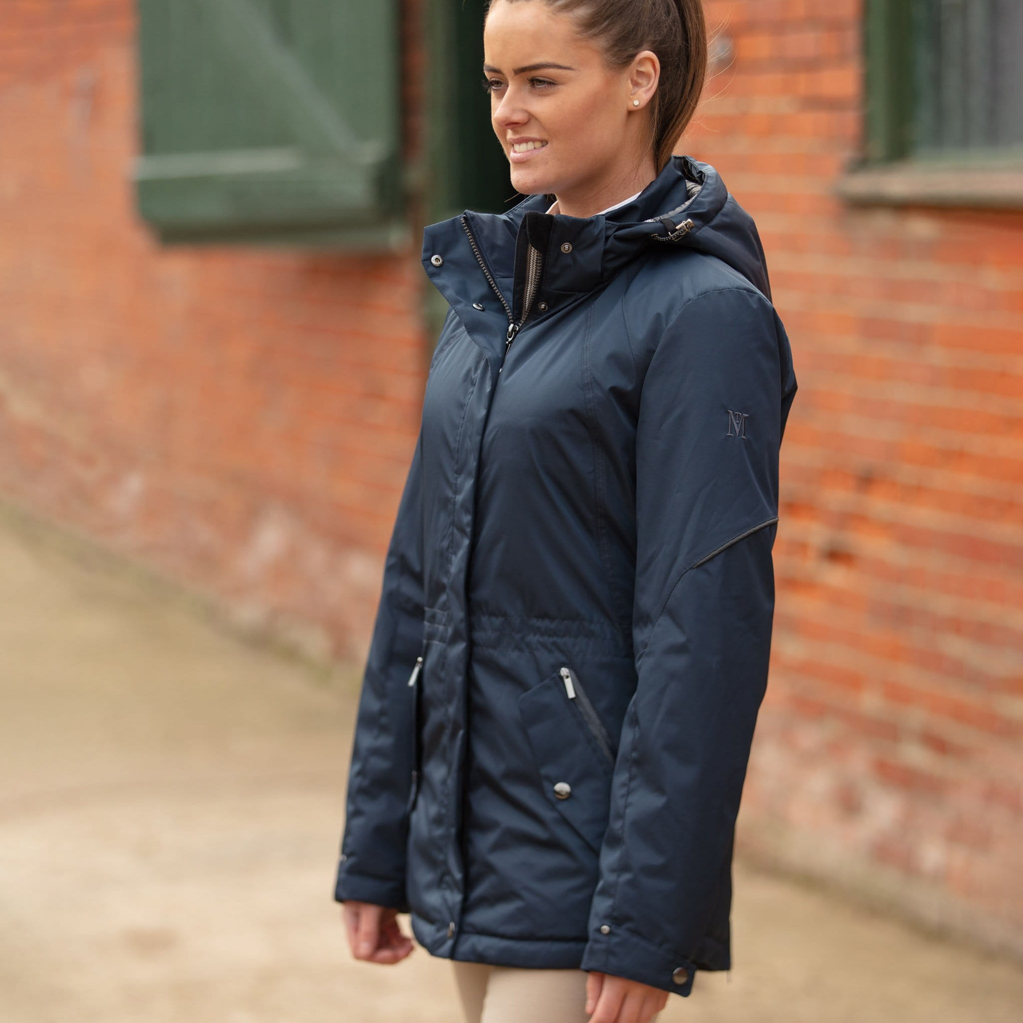 Mark Todd Short Parka Coat TOD692150 Navy On Model On Yard