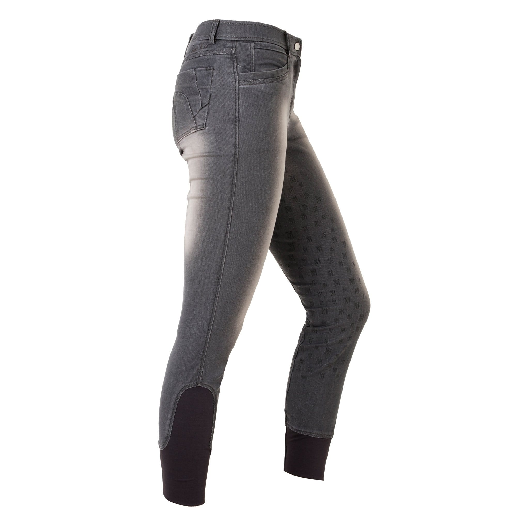 Mark Todd Denim Silicone Full Seat Breeches Anthracite RHS Studio TOD810302