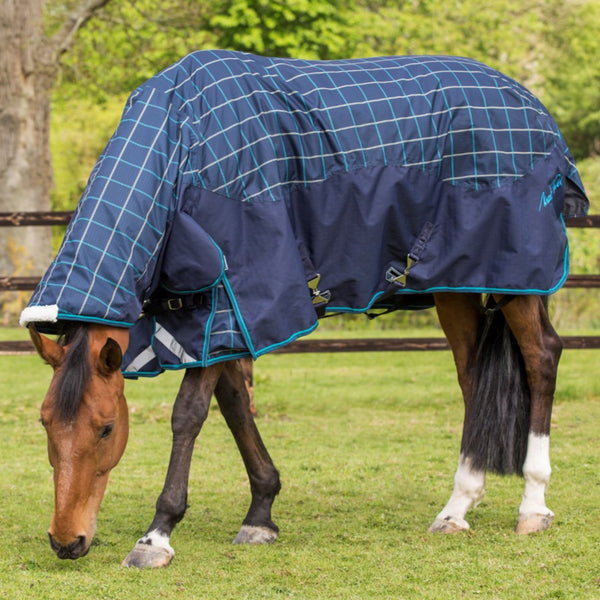 Mark Todd Heavyweight Combo Turnout Rug Navy Jade Beige Plaid 880614