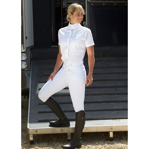 Mark Todd Ladies Coolmax Grip Breeches White Lifestyle on lorry TOD802750