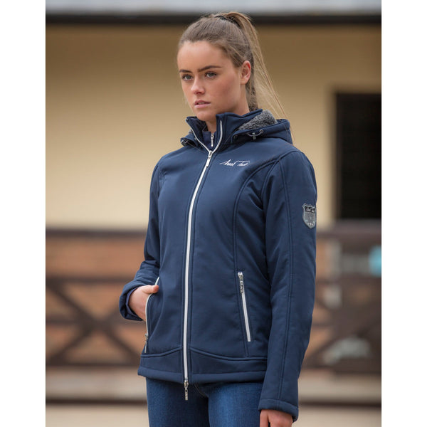 Mark Todd Ladies Fleece Lined Softshell Jacket Navy Front View TOD804520