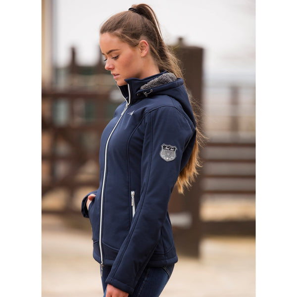 Mark Todd Ladies Fleece Lined Softshell Jacket Navy Side View TOD804520