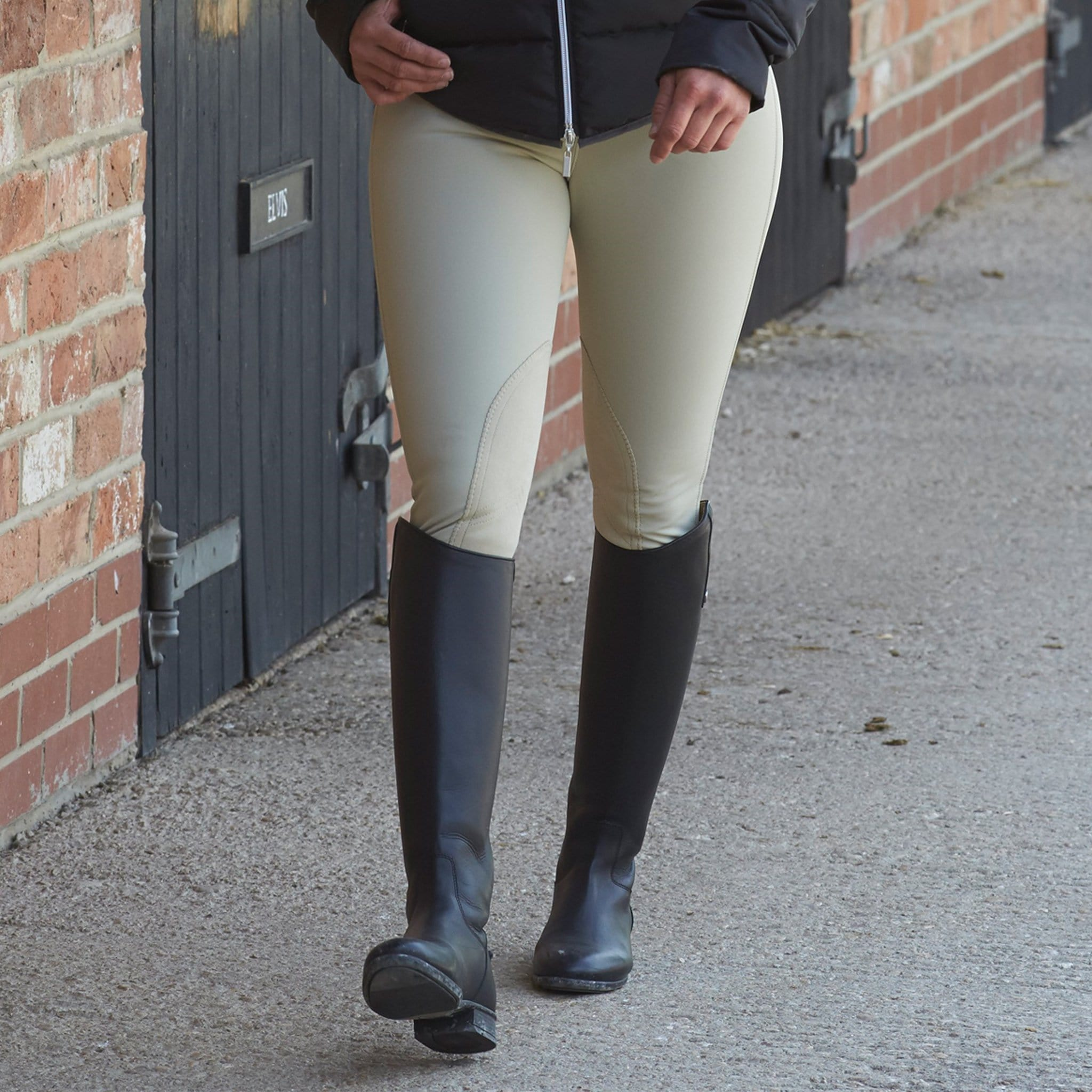 Mark Todd Winter Performance Water-Resistant Alos Knee Patch Breeches Beige Lifestyle Close Up TOD802648