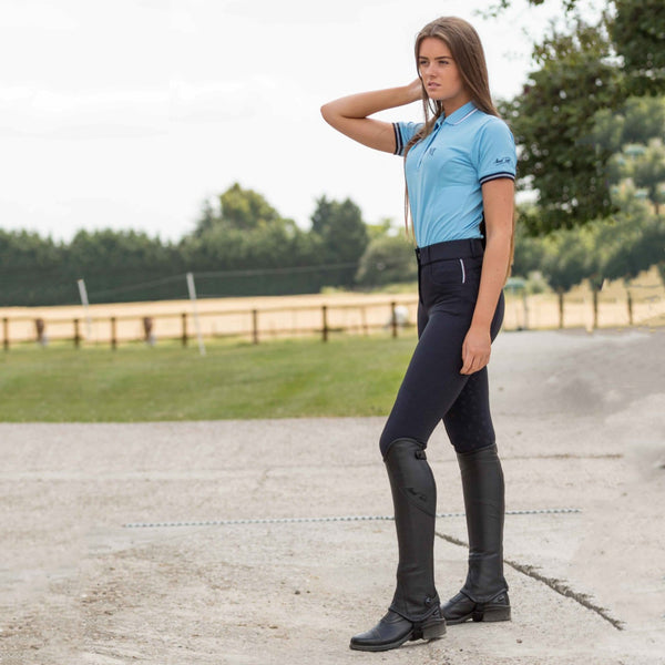 Mark Todd Ladies Marceline Breeches Navy Lifestyle Side View TOD603169