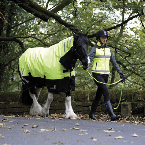 Masta Avante Hi Viz 200g Fixed Neck Turnout Rug On Road Front and Side View MAS4605